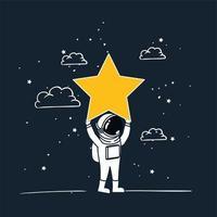 astronauta disegnare con design stella gialla vettore