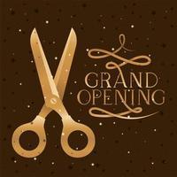messaggio di grande apertura con le forbici che tagliano il nastro dorato vettore