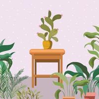 piante d'appartamento su una sedia di legno, scena del giardino vettore