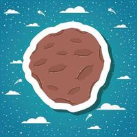 adesivo asteroide con nuvole design illustrazione vettoriale