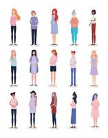 gruppo di personaggi di donne incinte interrazziali vettore