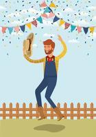 giovane agricoltore festeggia con ghirlande e recinzione vettore
