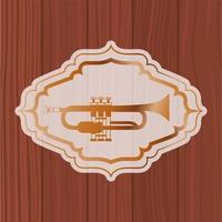 tromba musicale in cornice con fondo in legno vettore