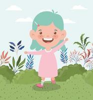 bambina felice nel paesaggio del campo vettore
