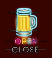 luce al neon del barattolo di birra vettore