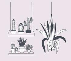 piante d'appartamento in grucce macramè e altalena vettore
