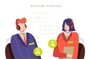 Agente di servizio di assistenza al cliente all'illustrazione di vettore dell'ufficio della call center