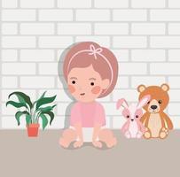 piccola bambina con carattere di peluche vettore