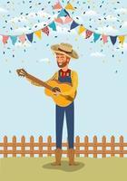 giovane agricoltore a suonare la chitarra con ghirlande e recinzione vettore