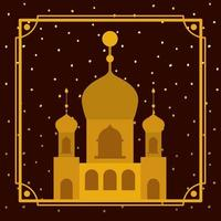 cornice con edificio moschea d'oro con cielo di stelle vettore