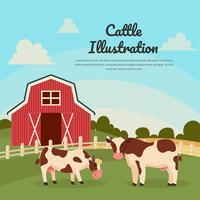 Bestiame con il vettore dell'illustrazione del paesaggio dell'azienda agricola