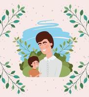 carta di felice festa del papà con personaggi di papà e figlio vettore