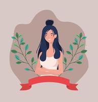giovane donna con nastro cornice e foglie vettore