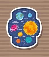 pianeti etichetta design illustrazione vettoriale