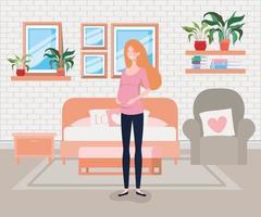 donna incinta nella scena della camera da letto vettore