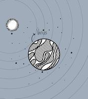 pianeta Venere e disegno del sole del design del sistema solare vettore