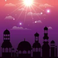 scena della siluetta di paesaggio urbano di ramadan kareem vettore