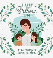 carta di felice festa del papà con papà e bambini vettore
