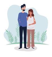 coppia carina in procinto di avere un bambino vettore