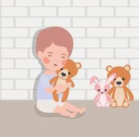 piccolo neonato con carattere di peluche vettore