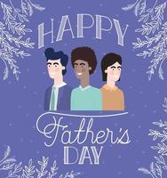 carta di felice festa del papà con papà interrazziale vettore