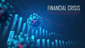 crisi finanziaria globale dal concetto grafico di pandemia di virus. vettore