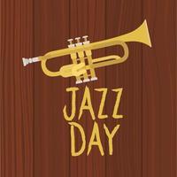 poster del giorno del jazz con tromba vettore