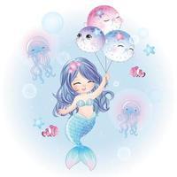 sirena carina con illustrazione ad acquerello vettore