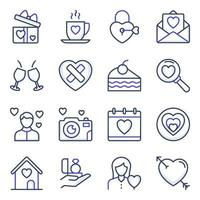 confezione di icone di linea colorata di San Valentino vettore