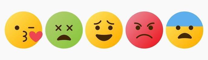 reazione di emoticon, amore, malato, arrabbiato, wtf - vettore