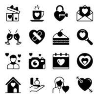pacchetto di icone solide di San Valentino vettore