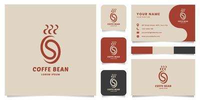 logo chicco di caffè caldo semplice e minimalista con modello di biglietto da visita vettore