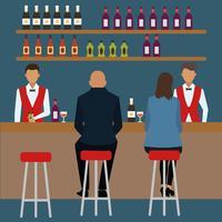 Illustrazione di vettore di scena di bar affollato piatto