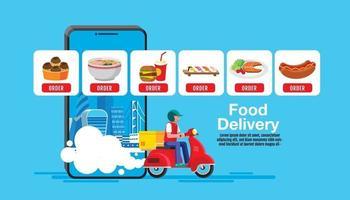 consegna di cibo, vettore design piatto.