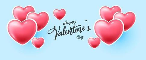 felice banner di san valentino con i cuori vettore