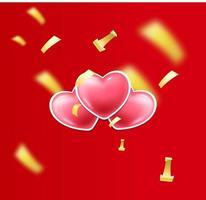felice banner di san valentino con cuori e coriandoli vettore
