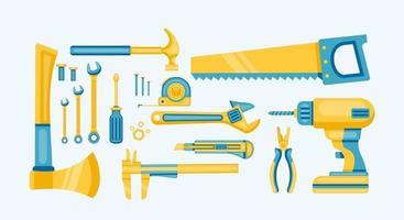 illustrazione vettoriale di raccolta di riparazione strumenti di costruzione
