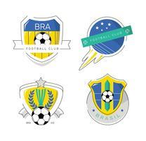 Illustrazione piana di vettore di logo brasiliano d'annata della toppa di calcio