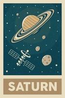 satellite in stile retrò e vintage che esplora il poster del pianeta saturno vettore