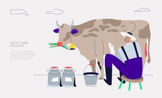 Prodotto a base di latte fresco dall'illustrazione di vettore dell'azienda agricola di bestiame