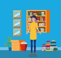 giovane donna con cappello in piedi in biblioteca vettore