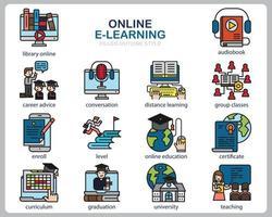 set di icone di apprendimento online per sito Web, documenti, poster design, stampa, applicazione. icona di concetto di corso online riempito stile struttura. vettore