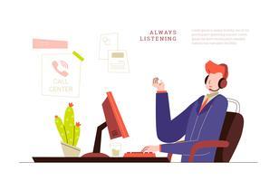Uomo di servizio di assistenza al cliente all'illustrazione di vettore dell'ufficio della call center