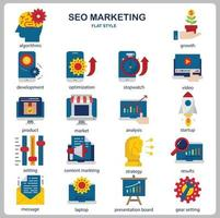 set di icone di marketing seo per sito Web, documenti, poster design, stampa, applicazione. seo marketing concetto icona stile piatto. vettore
