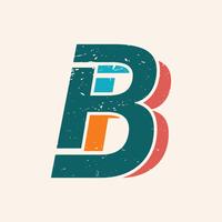 Stile vintage lettera B. vettore