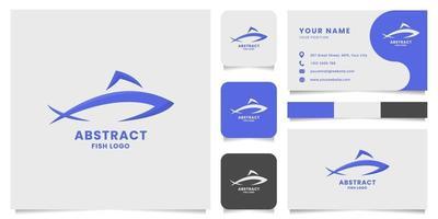 logo di pesce astratto semplice e minimalista con modello di biglietto da visita vettore