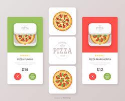 Insieme di progettazione di UI di vettore dell'icona di App dell'alimento della pizza