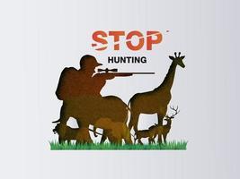 grafica anti-caccia con cacciatore stile carta tagliata che punta il fucile agli animali vettore