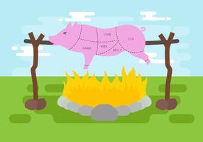 Illustrazione vettoriale di maiale arrosto