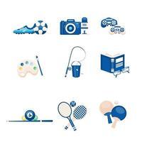 illustrazione vettoriale di persone hobby e attrezzature di interesse